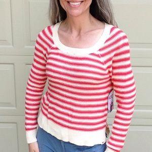 nwt ROXY starboard coral stripe sweater M L